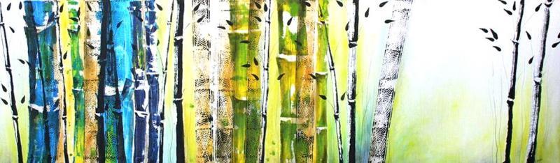Großformatiges Malen, Spachteln und Schütten mit Tusche und Acrylfarbe